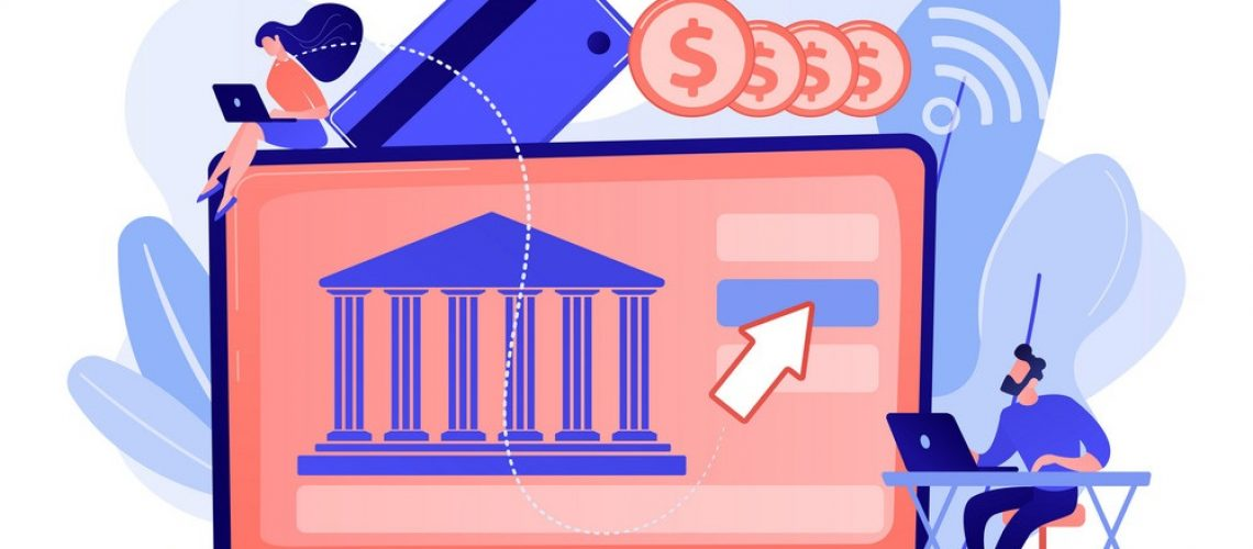 Tiny people with laptop and financial digital transformation. Open banking platform, online banking system, finance digital transformation concept. Living coral bluevector isolated illustration